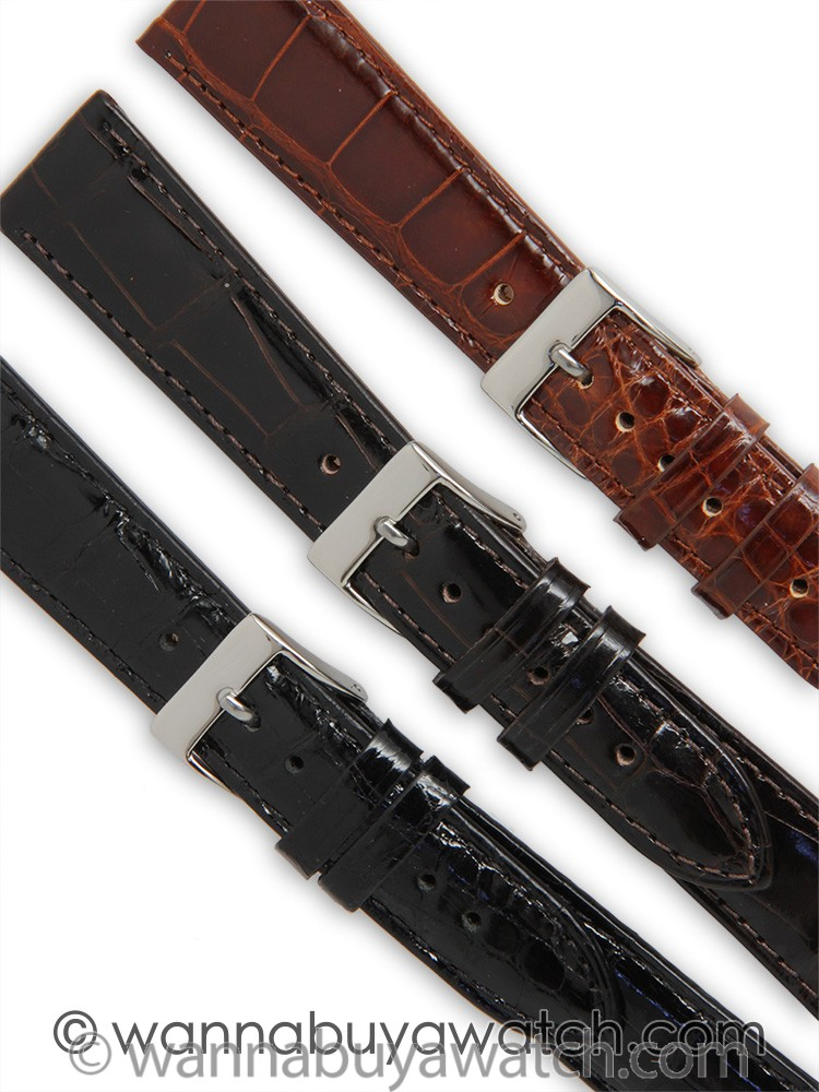 Fine Alligator Stitched Gloss Finish Strap 20mm