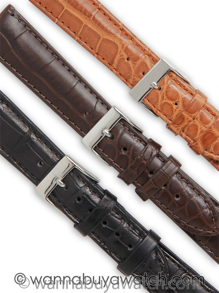 Fine Alligator Stitched Matte Finish Strap 20mm
