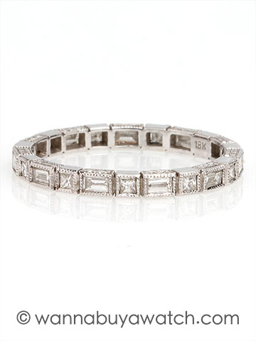 18K White Gold with Baguette & Princess Cut Diamonds