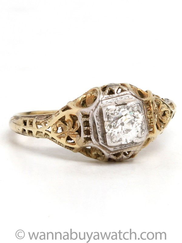 14K Yellow Gold & 0.30ct Diamond Van Krenetz circa 1920's