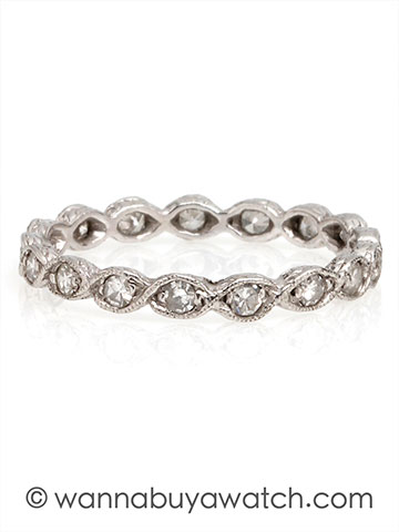 """S"" Shaped Platinum & Diamond Band"