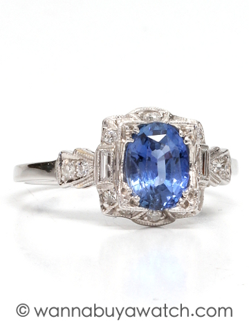New Vintage 18KW 1.75ct Ceylon Sapphire Diamond Ring