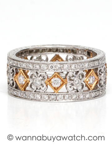 "18K Bi-Color Diamond Set Band ""New Vintage"""