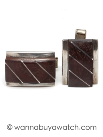 Sterling Silver & Wood Cufflinks