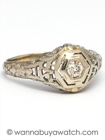 Vintage 14KW Diamond Engagement Ring 0.15ct I-SI2 circa 1920s