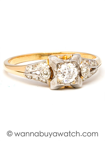 14K YG & 0.26ct Old European Cut Diamond Solitaire 1940's