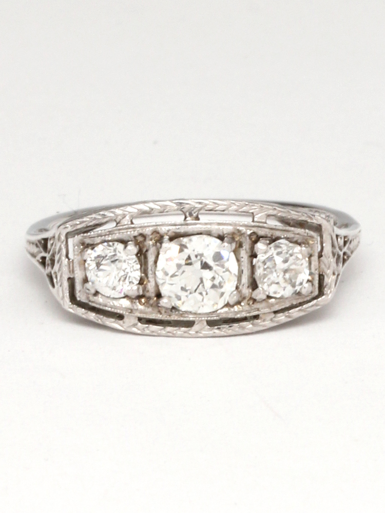 Vintage 18K White Gold Old European Cut Diamond 3 Stone Ring 1.00ct circa 1920s