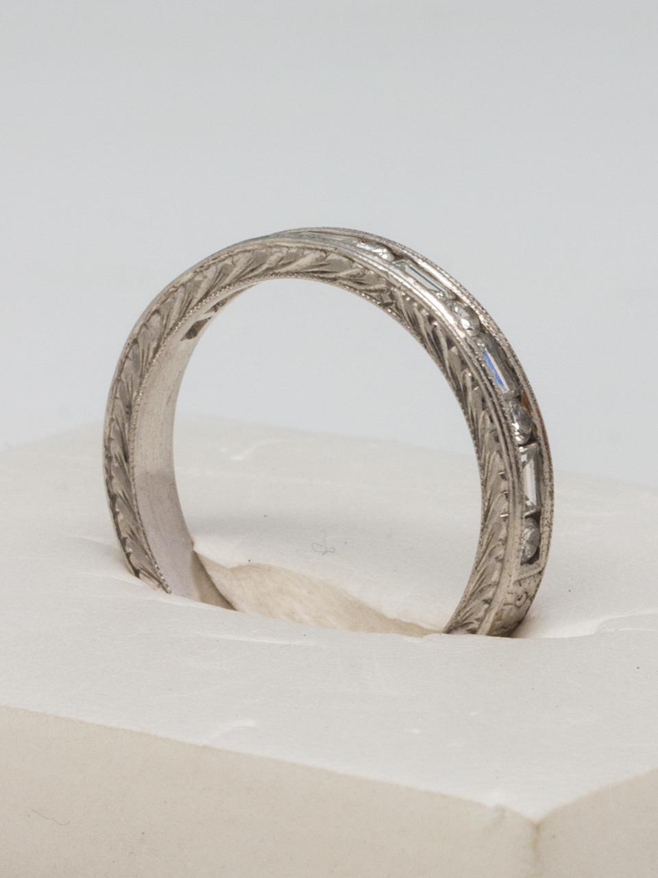 Platinum Engraved Baguette & Round Brilliant Diamond Band 0.33ct F-VS
