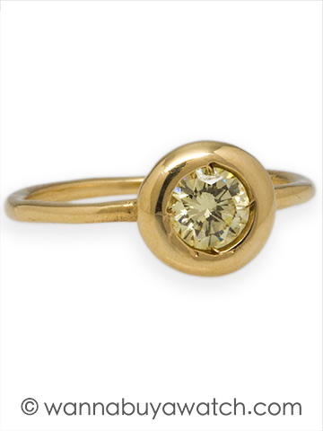 Liza Shtromberg Engagement Ring 14K YG 0.51ct Light Fancy Yellow Diamond
