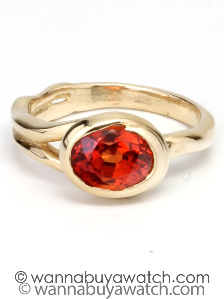 14K YG & Orange Sapphire Bezel Set Ring by Liza S.