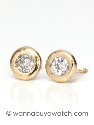 14K YG & 0.30ctw Diamond Studs