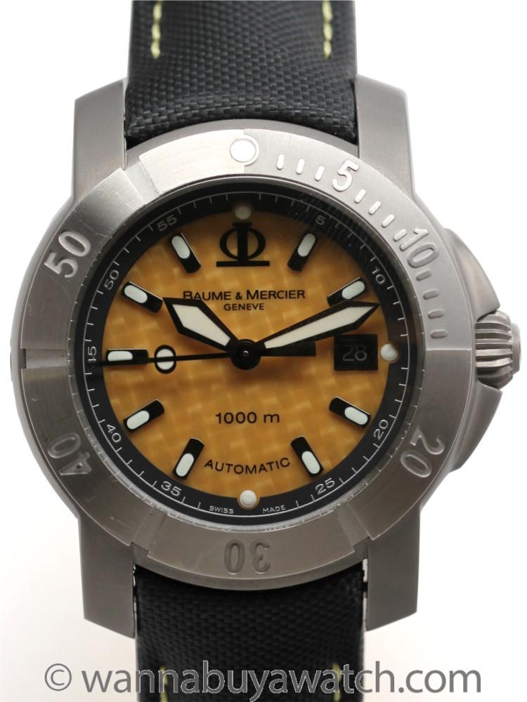 Baume & Mercier Titanium Capeland Diver's XXL Carbon Fibre w. Box Circa 2003