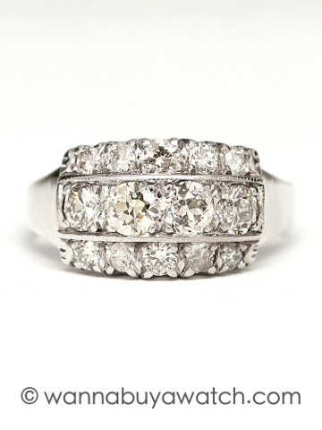 Vintage Platinum Diamond Three Row Band circa 1940's
