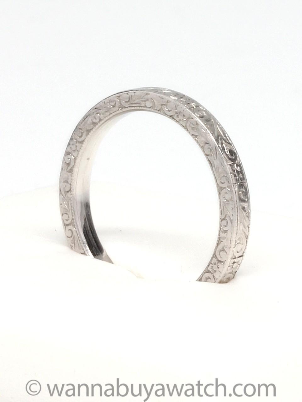Platinum Hand Engraved Band