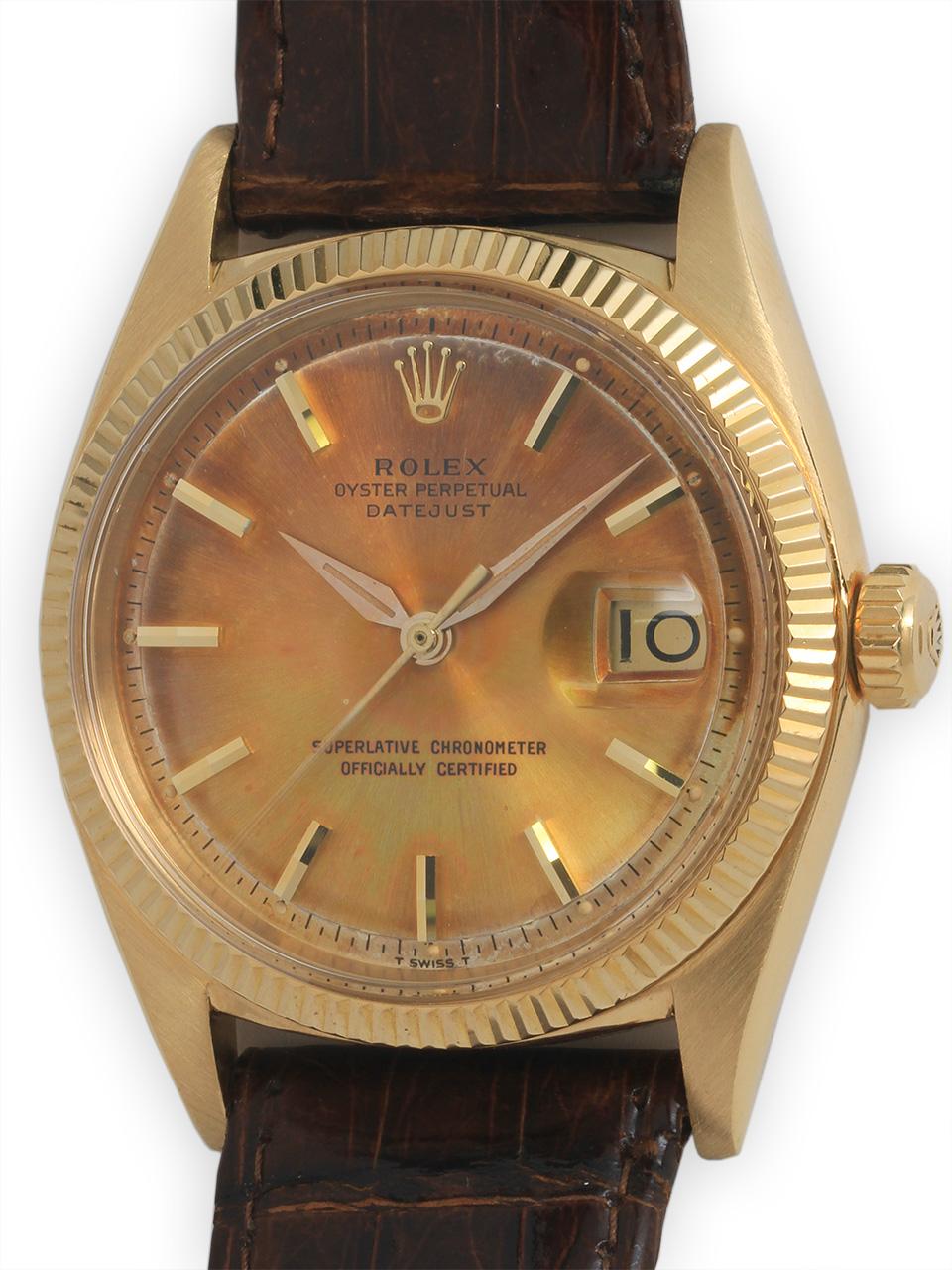 Rolex 18K YG Datejust circa 1961 Rainbow Dial