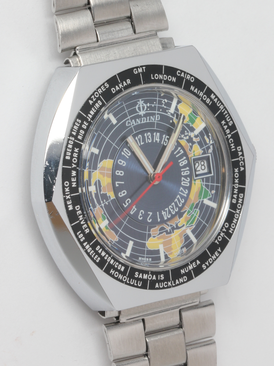 "Swiss Candino World Time ""Globetrotter"" circa 1974"