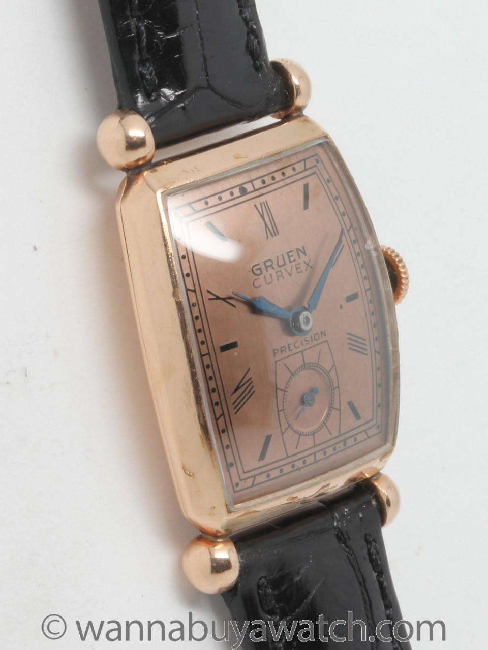 Gruen 14K PG Curvex circa 1940's
