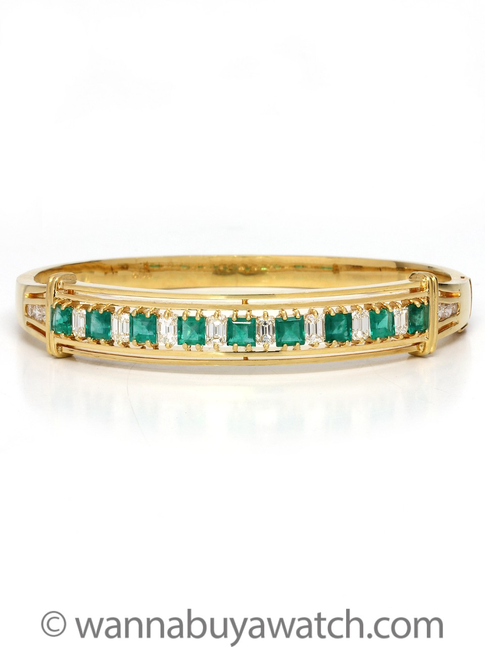18K Yellow Gold with Emeralds & Diamonds