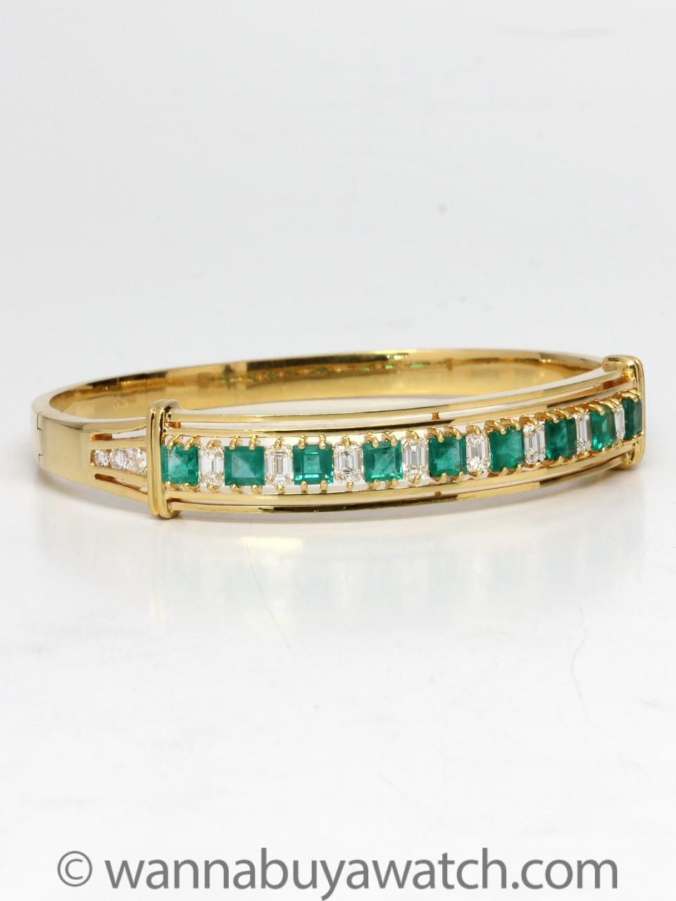 18K Yellow Gold with Emeralds & Diamonds