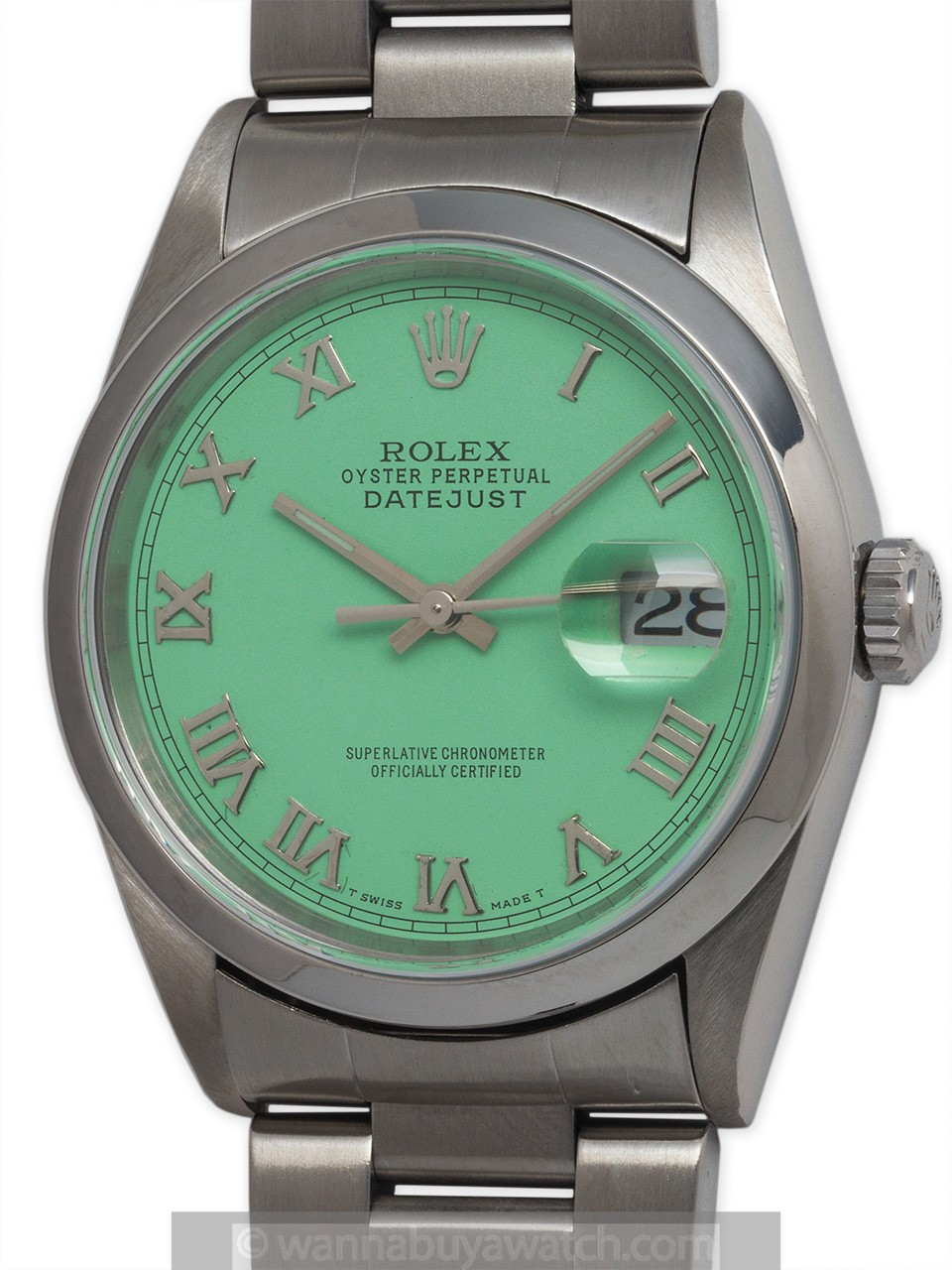 "Rolex Datejust ref 16200 Stainless Steel circa 2000 ""Mint Green"""