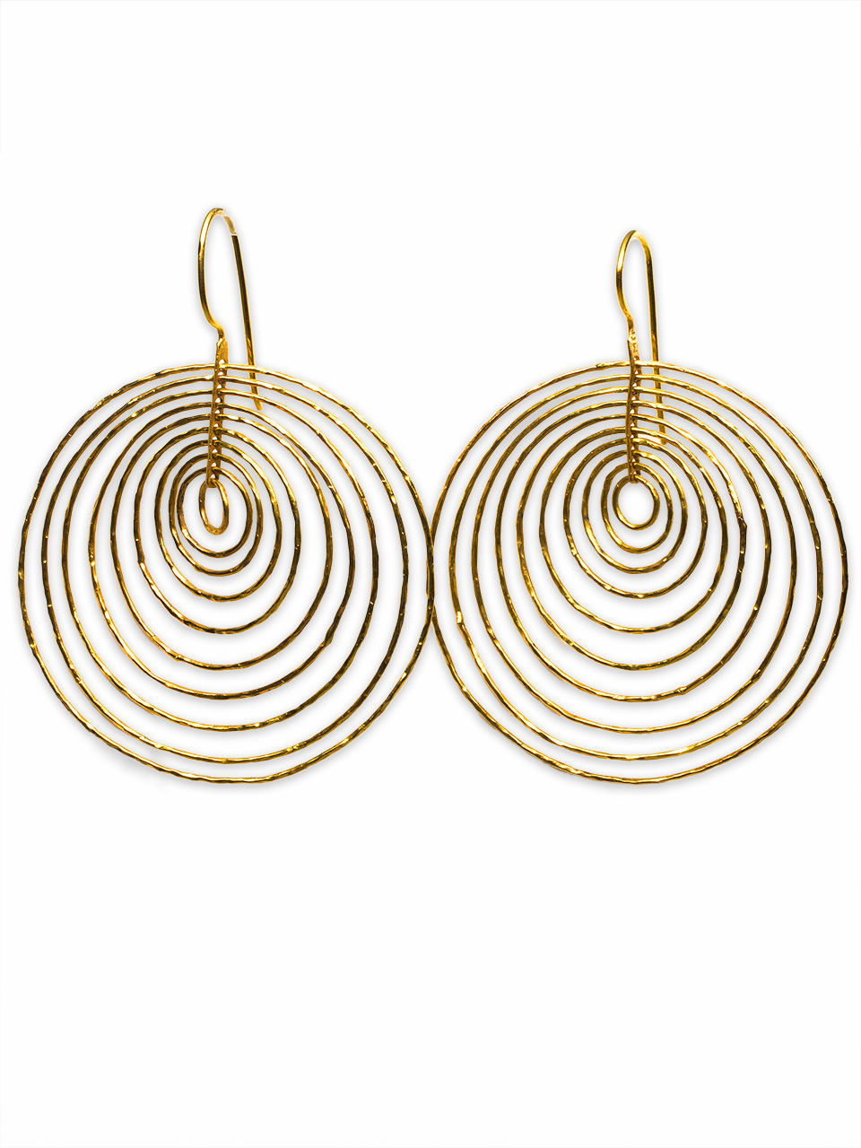 18K YG Hammered Hoops