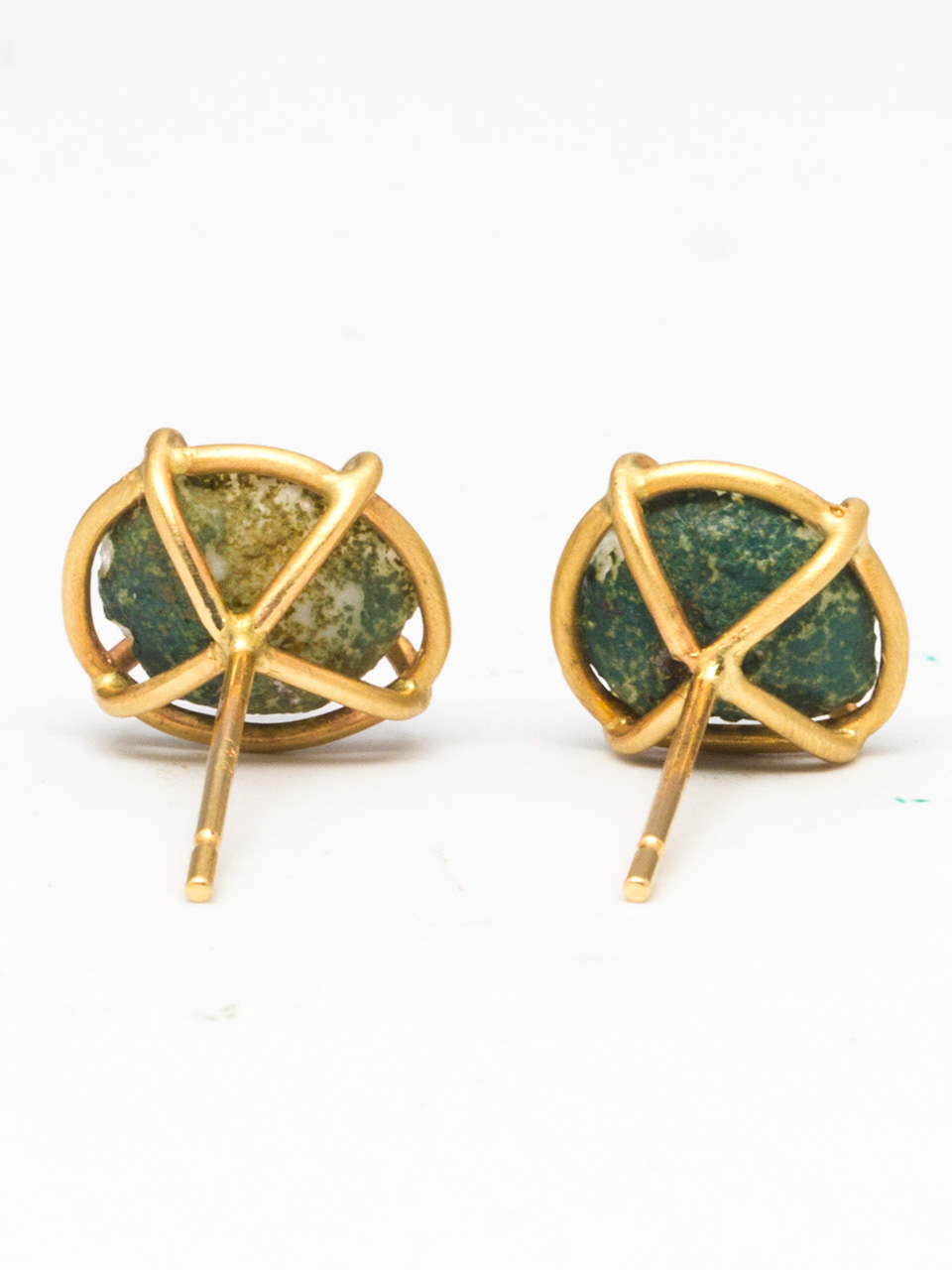 14K YG Gray/Green Agate Geode