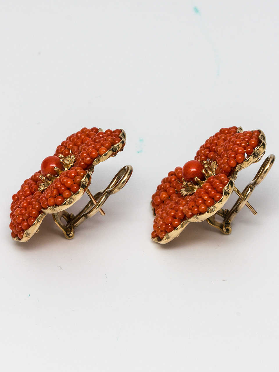 14K YG & Coral Earrings circa 1940's