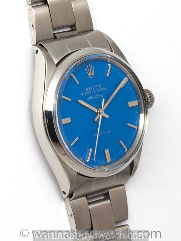 """Rolex SS Oyster Perpetual Airking circa 1971 """"Royal Blue"""""""