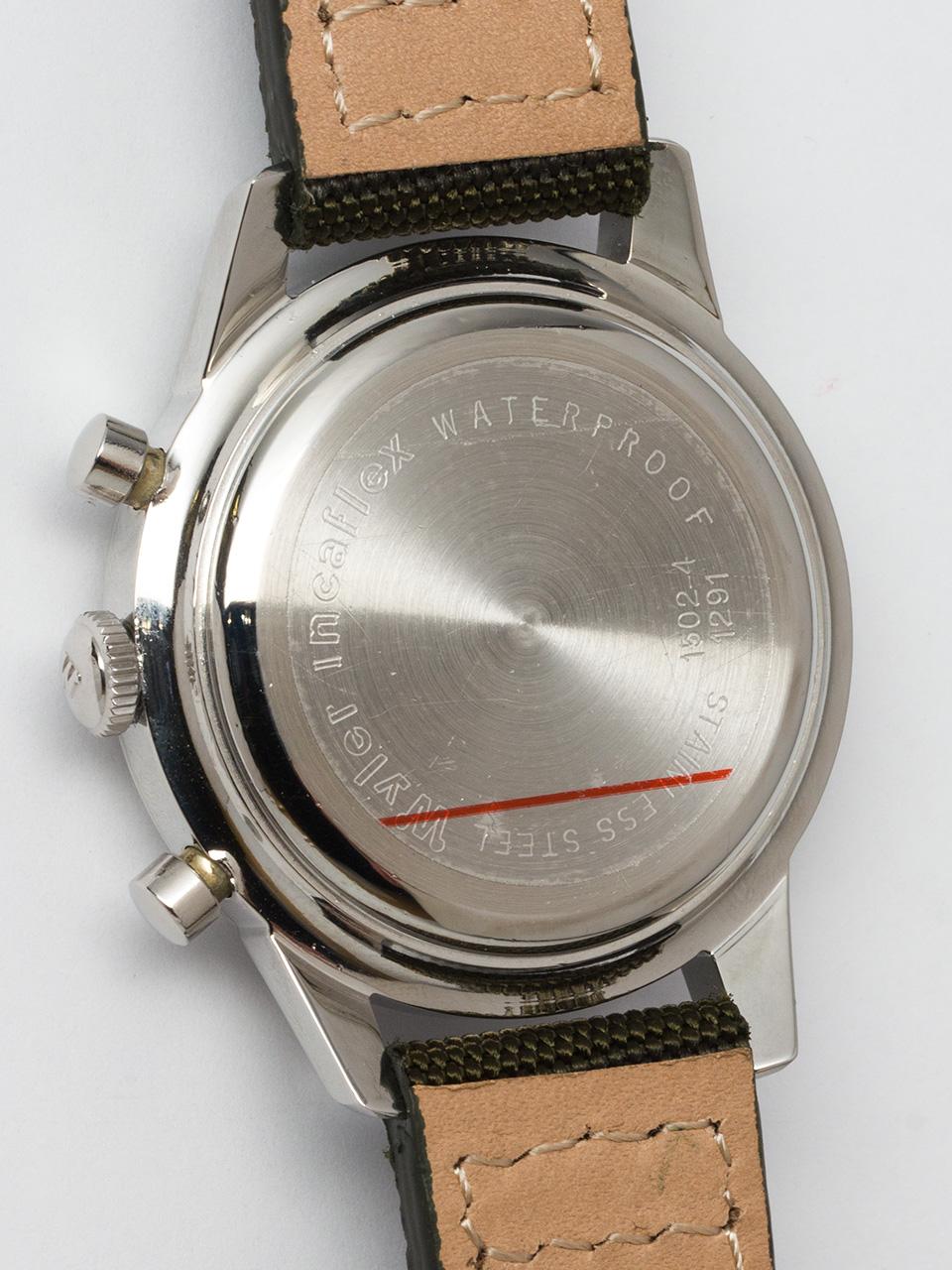 Wyler Incaflex Stainless Steel Chronograph Valjoux 72 circa 1960's