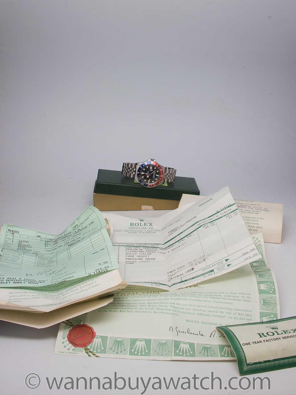 Rolex SS GMT ref 1675 circa 1978 with papers