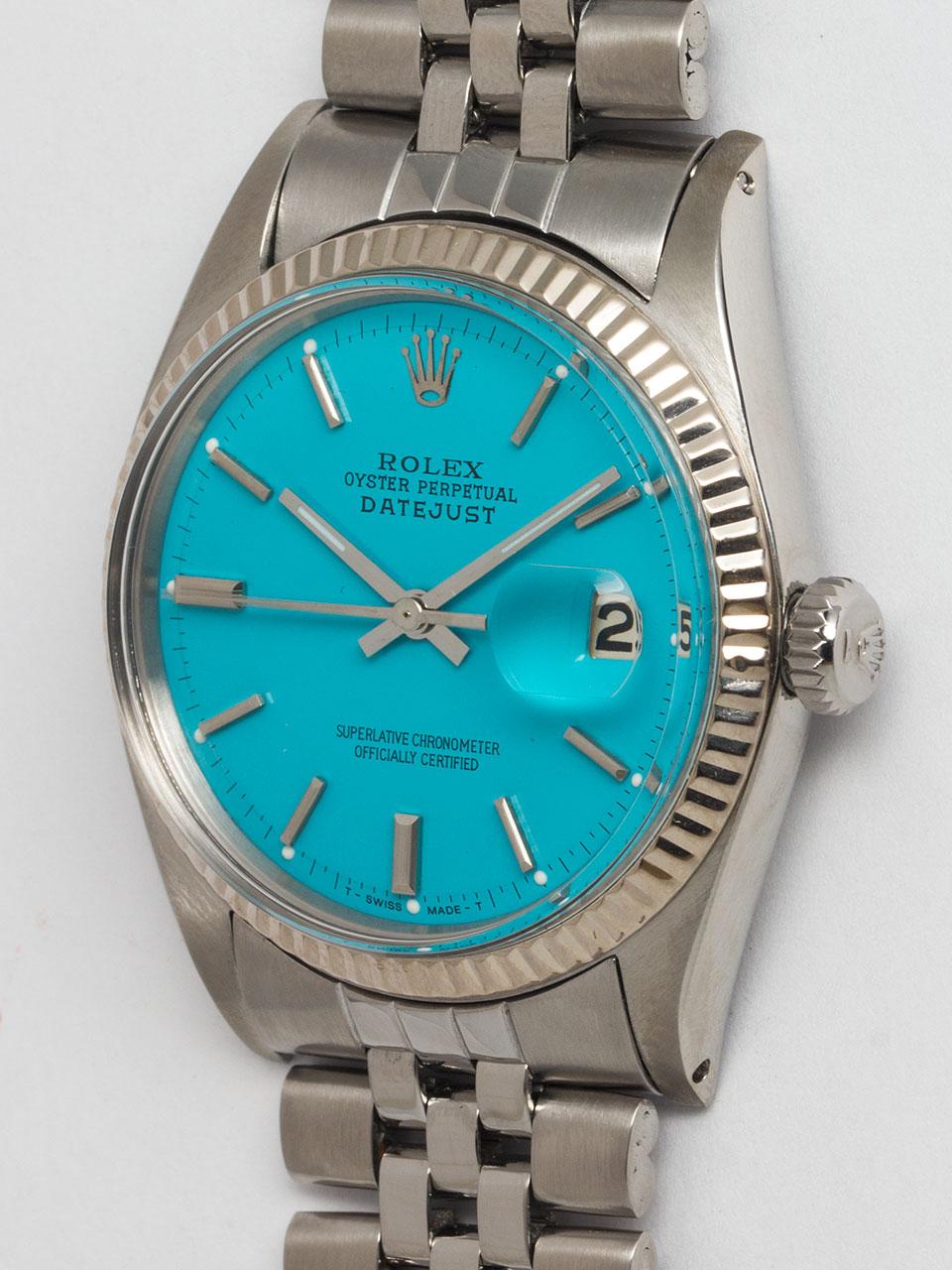 "Rolex SS Datejust ref 1601 circa 1964 ""Turquoise"""