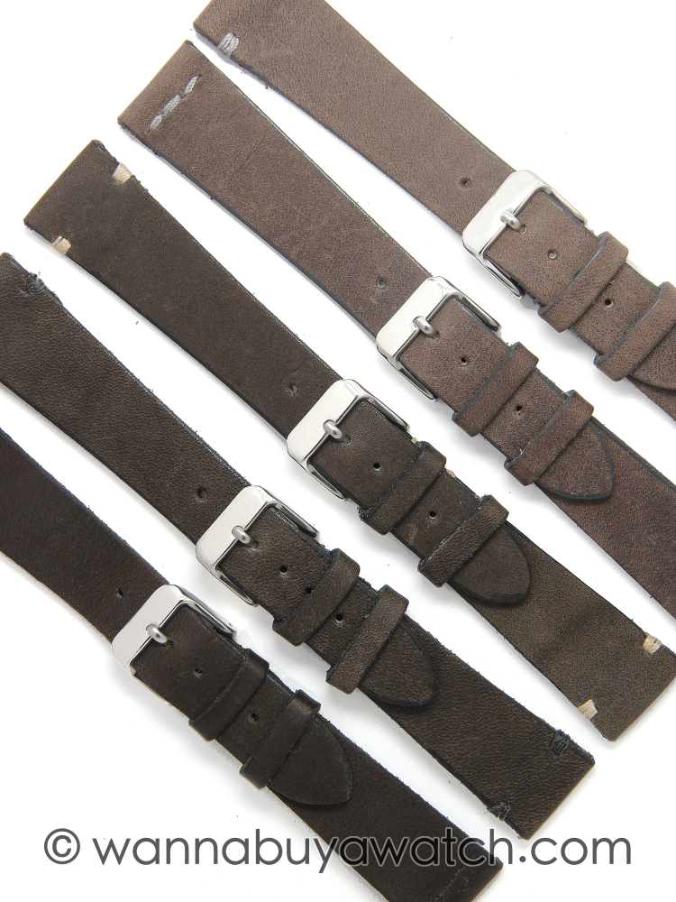 Vegetable Dye Spanish Leather Strap, Greys 20mm