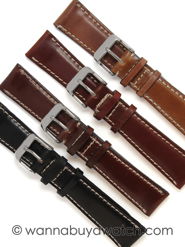 Shell Cordovan Watch Straps – Contrast Stitching 20mm