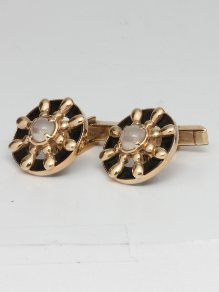 Ship's Wheel Design Cufflinks 14K YG 1940's