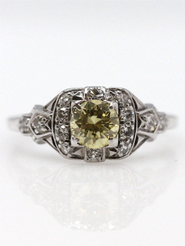 Vintage Engagement Ring Platinum .54ct Natural Yellow Diamond circa 1930s