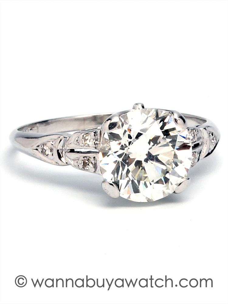 Vintage Engagement Ring Platinum 2.05ct I-VS2 circa 1930s