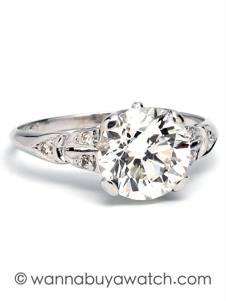 Vintage Engagement Ring Platinum 2.05ct I-VS2 circa 1930s