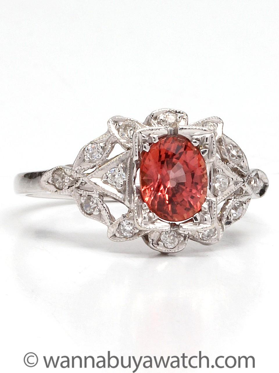 New Vintage 18K WG Orange Sapphire & Diamond Ring