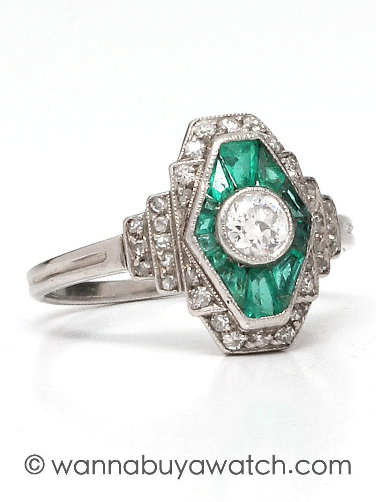Vintage Art Deco Diamond Emerald Platinum Ring 0.30ct OEC F-G/VS2 circa 1930s