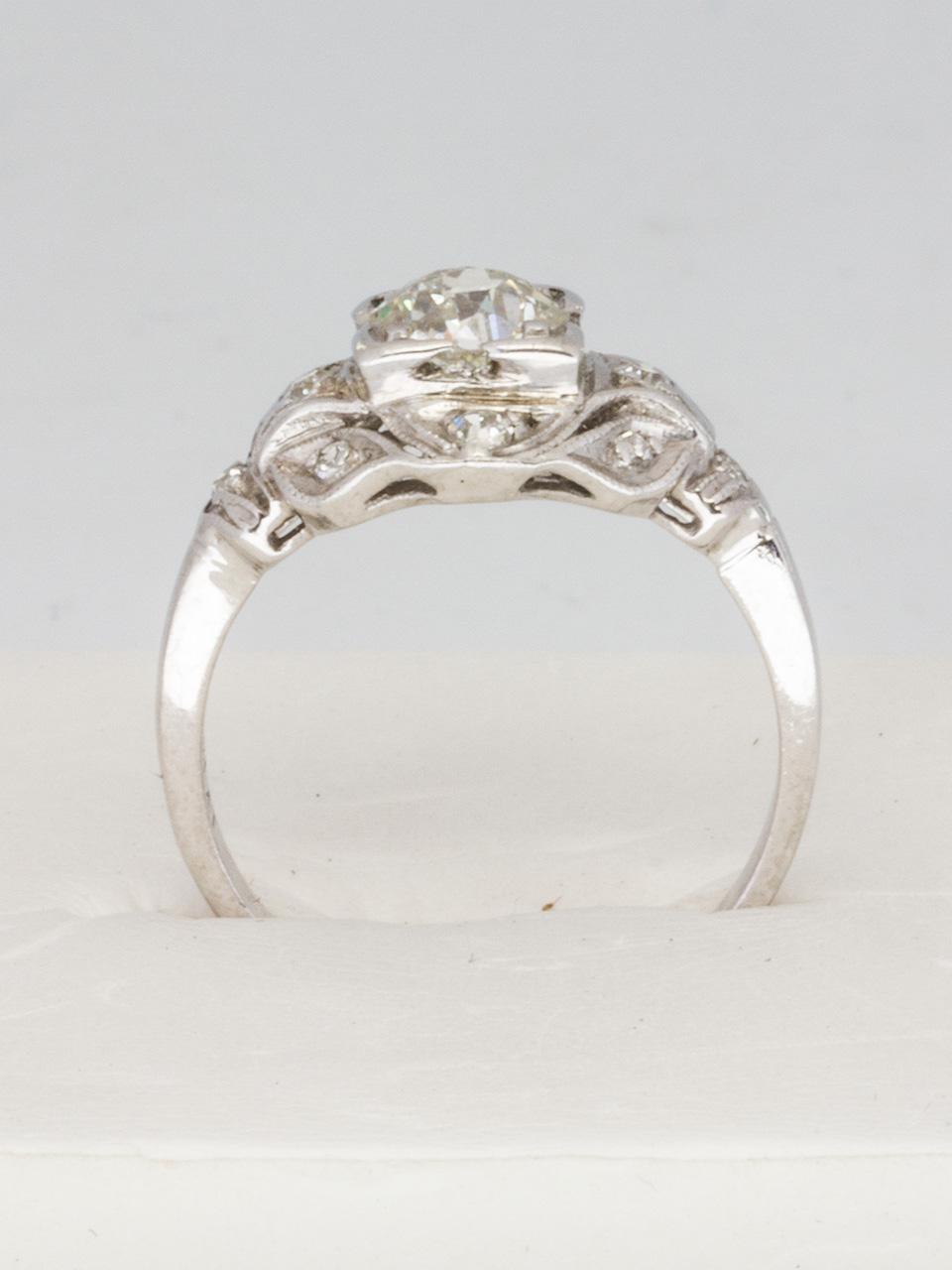Vintage Engagement Ring Platinum 0.52ct Old Mine Cut H-SI1 circa 1930s