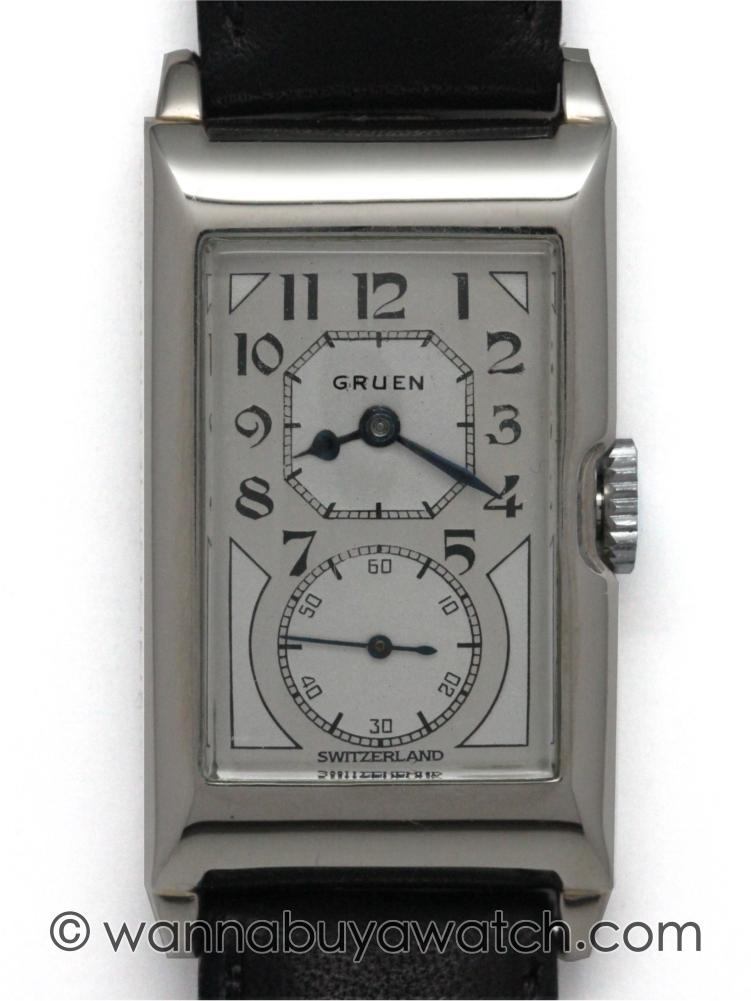 Gruen 14K WG Doctor's Duo Dial circa 1930's