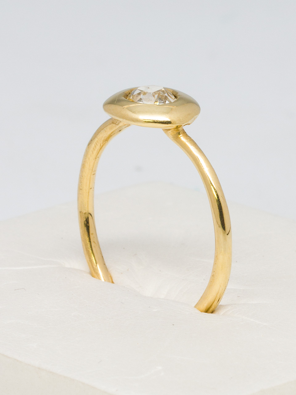 14k Yellow Gold Mine Cut Diamond Ring by Liza S