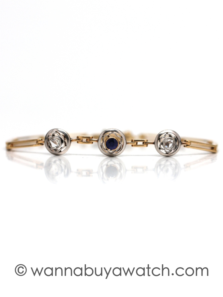 1890's Yellow Gold & Platinum Rose Cut Bracelet