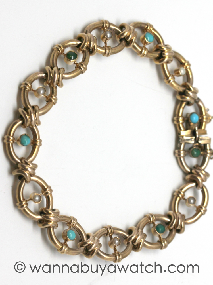 1910's 9K Yellow Gold with Turquoise & Pearl Bracelet
