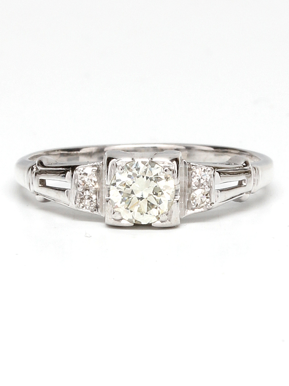 Vintage Engagement Ring 18KW 0.35ct OEC G-VS2 circa 1930s