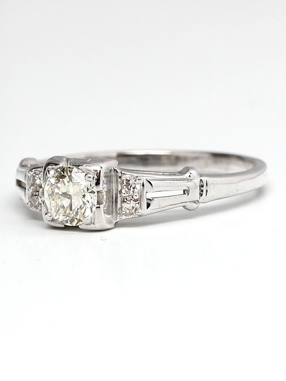 Vintage Engagement Ring 18KW 0.35ct OEC G-VS2 circa 1930s