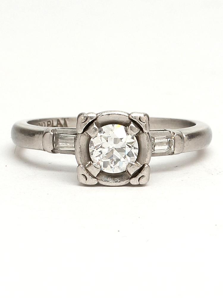 Vintage Platinum Engagement Ring 0.40ct Old European Cut G-VS2 circa 1940s