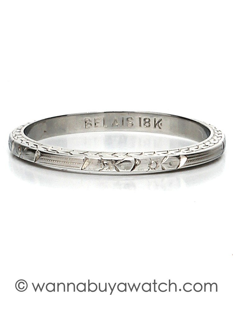 18K White Gold Hand Engraved Antique Band