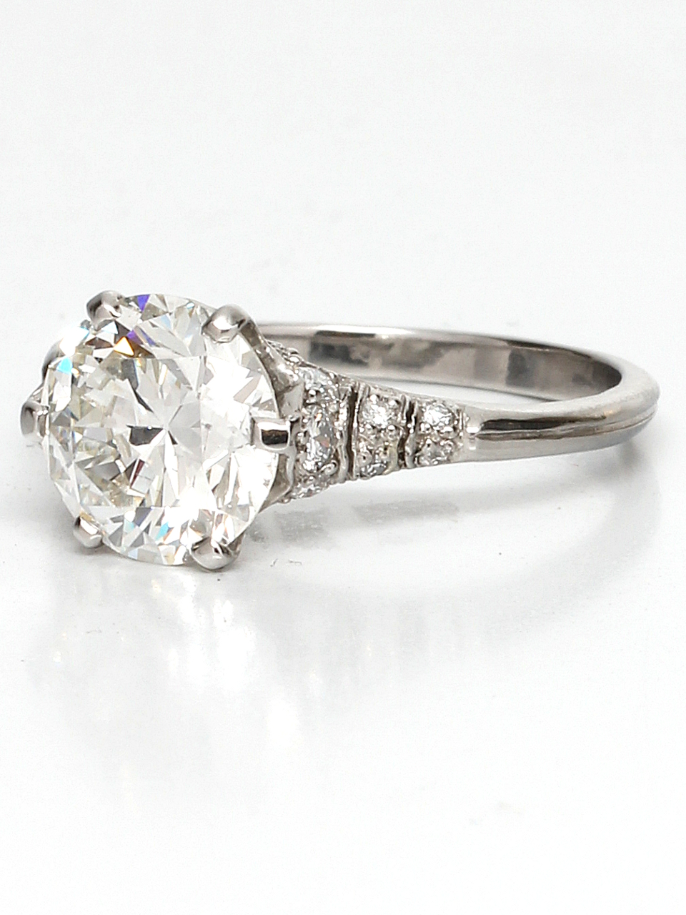 Edwardian Style Platinum 2.36ct Round Brilliant G-SI1 Diamond Engagement Ring