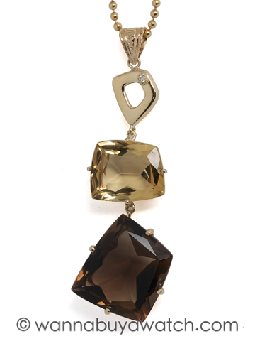 18K Gold Citrine & Smoky Quartz